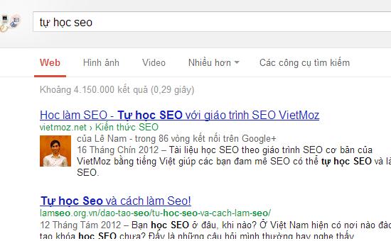 vietmoz.net đứng TOP1 với từ khóa tự học SEO