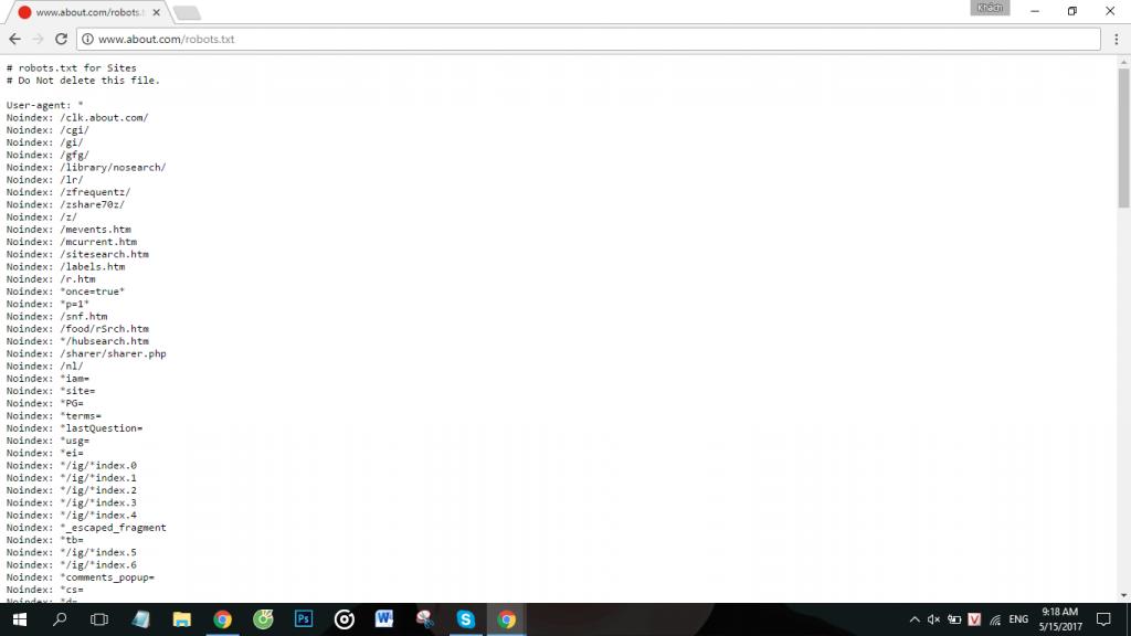 file robot.txt đang chặn file /library/nosearch/