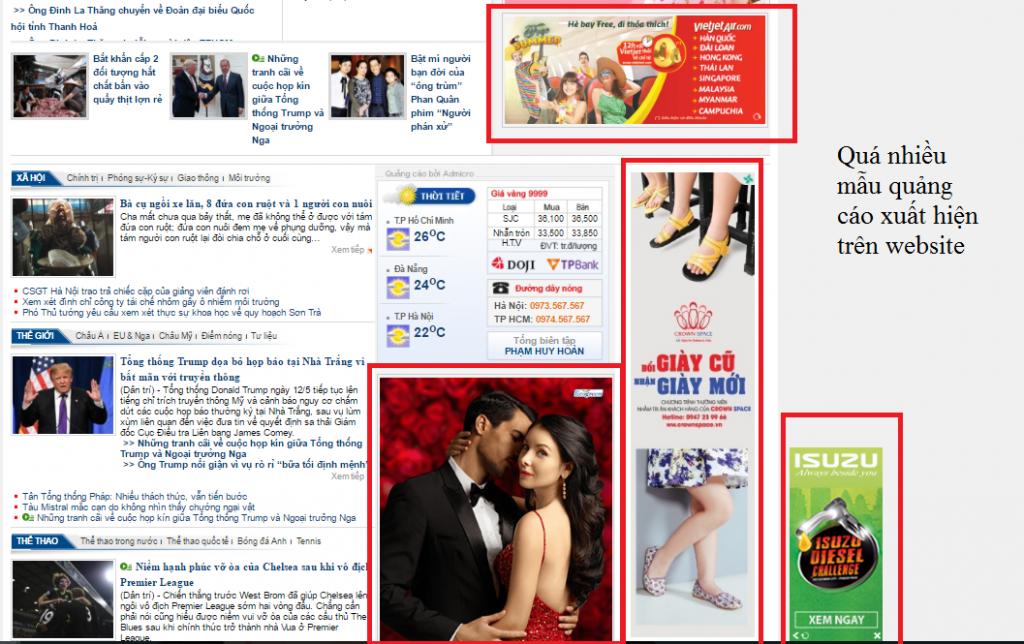 Quá nhiều mẫu quảng cáo xuất hiện trên website