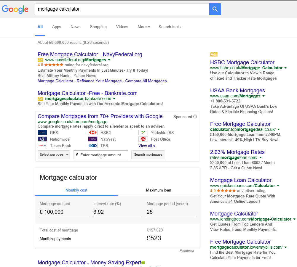 google-serp-mortgage-calculator-uk-compare