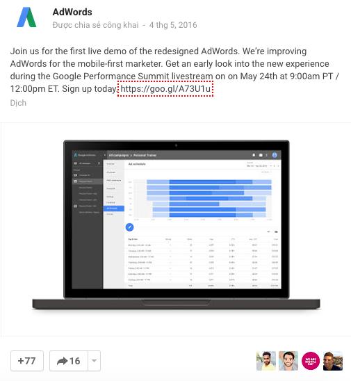 Bài đăng thông báo về việc cập nhật giao diện AdWords của Google, chính thức trên trang mạng xã hội Google+