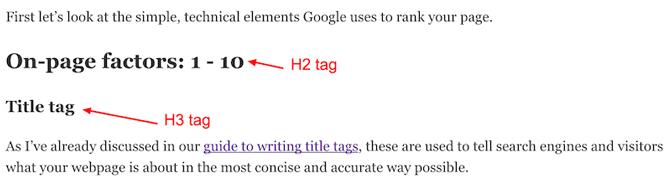 Sử dụng các thẻ H2, H3 để chia nhỏ ý chính của bài