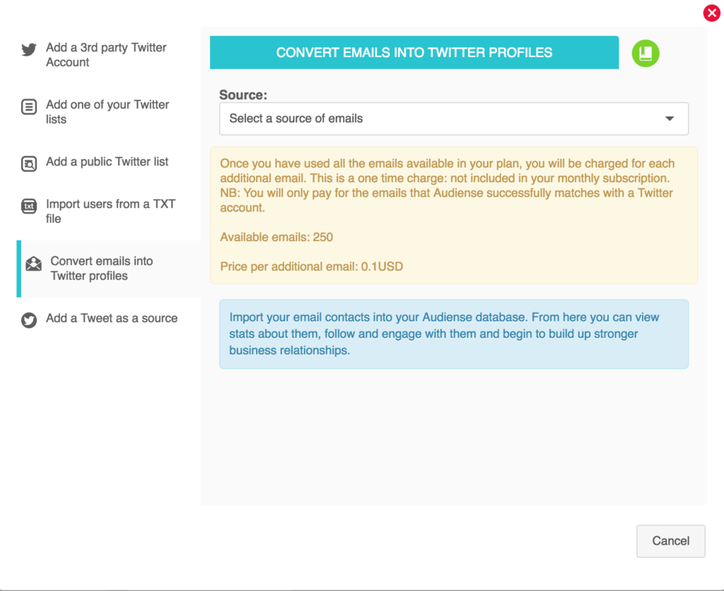 Convert emails into twitter profiles