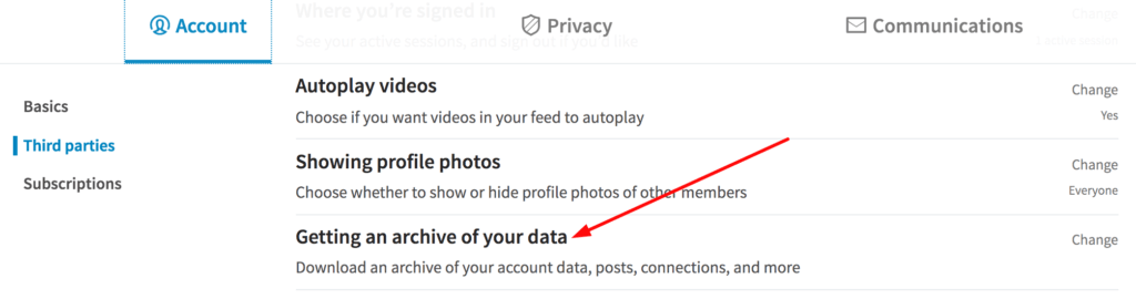 Getting an archive of your data