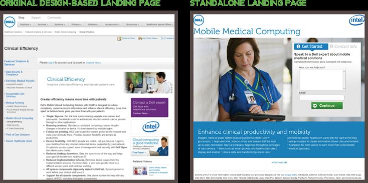 Hai phiên bản trang đích khác nhau mà Dell đã thử nghiệm
