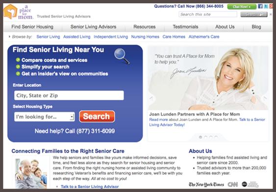 Trang nhấn mạnh tìm kiếm đơn giản và thông tin về cộng đồng