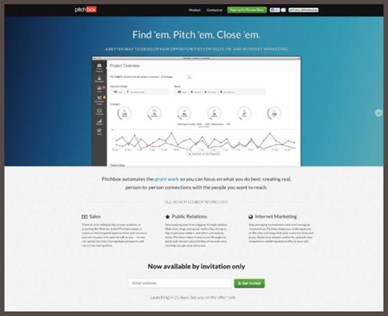 Hai phiên bản lanhding page của Pitchbox