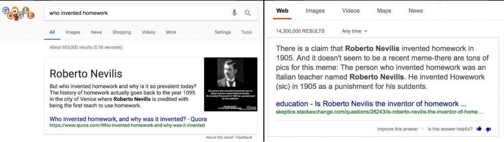 Google và Bing với truy vấn ai là người nghĩ ra bài tập về nhà