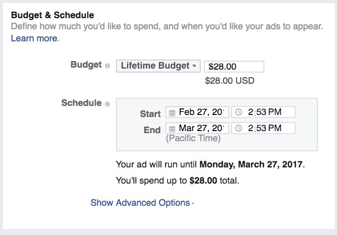 Tùy chỉnh ngân sách quảng cáo cho bạn