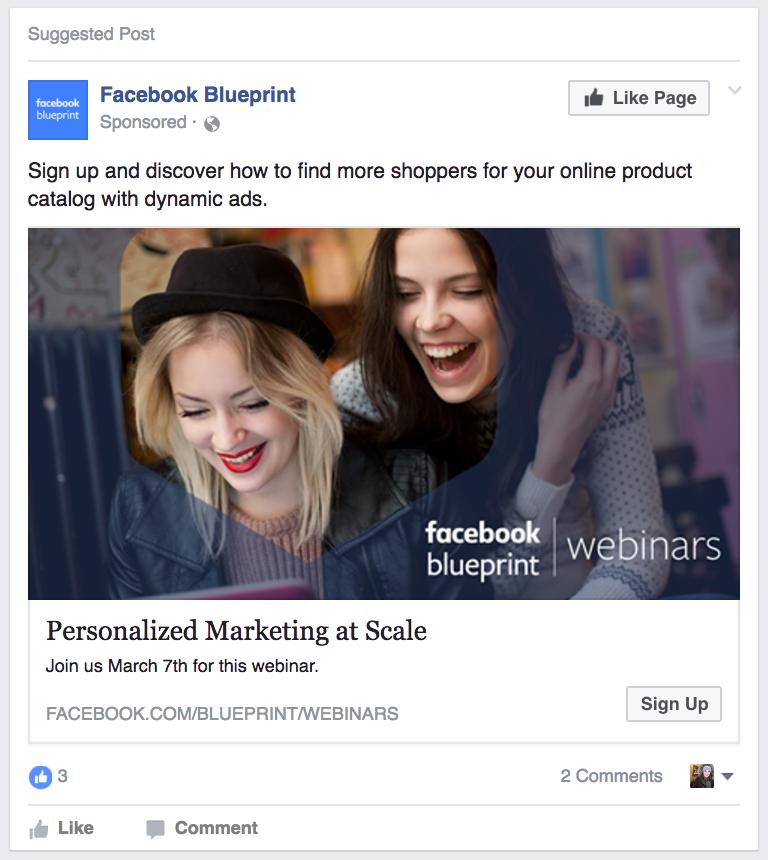 Ví dụ về mẫu quảng cáo Facebook lead ads