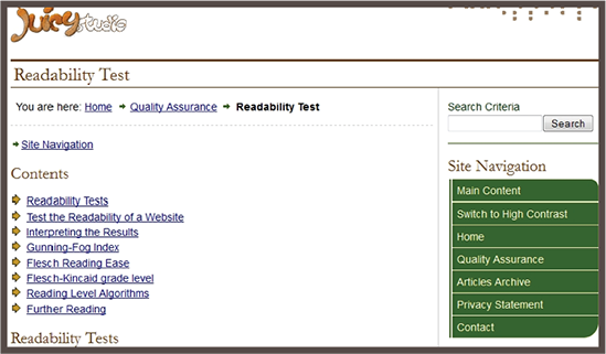 Site Readability Test