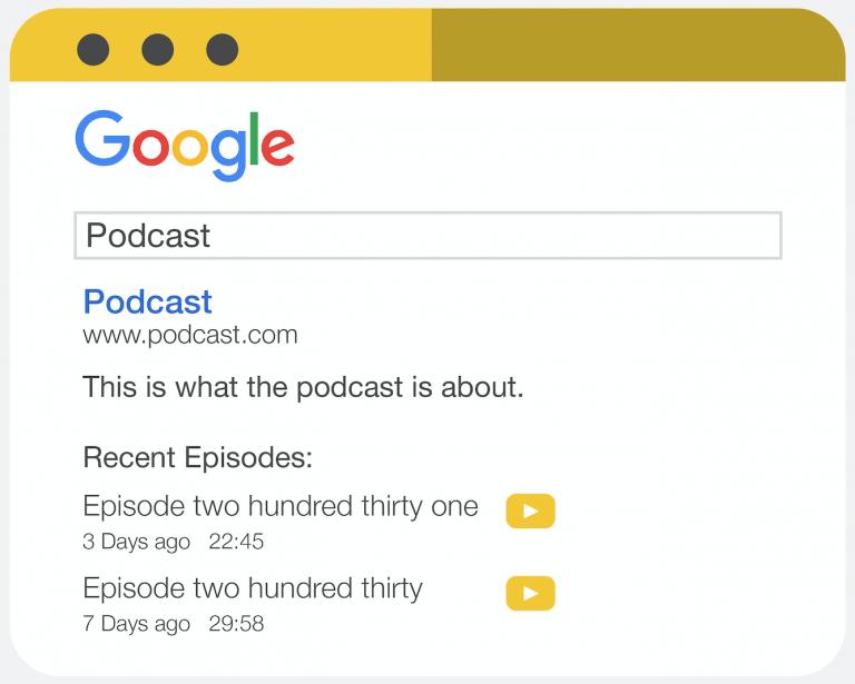 ví dụ về podcast do Google cung cấp và cấu trúc thông thường của một danh sách podcast