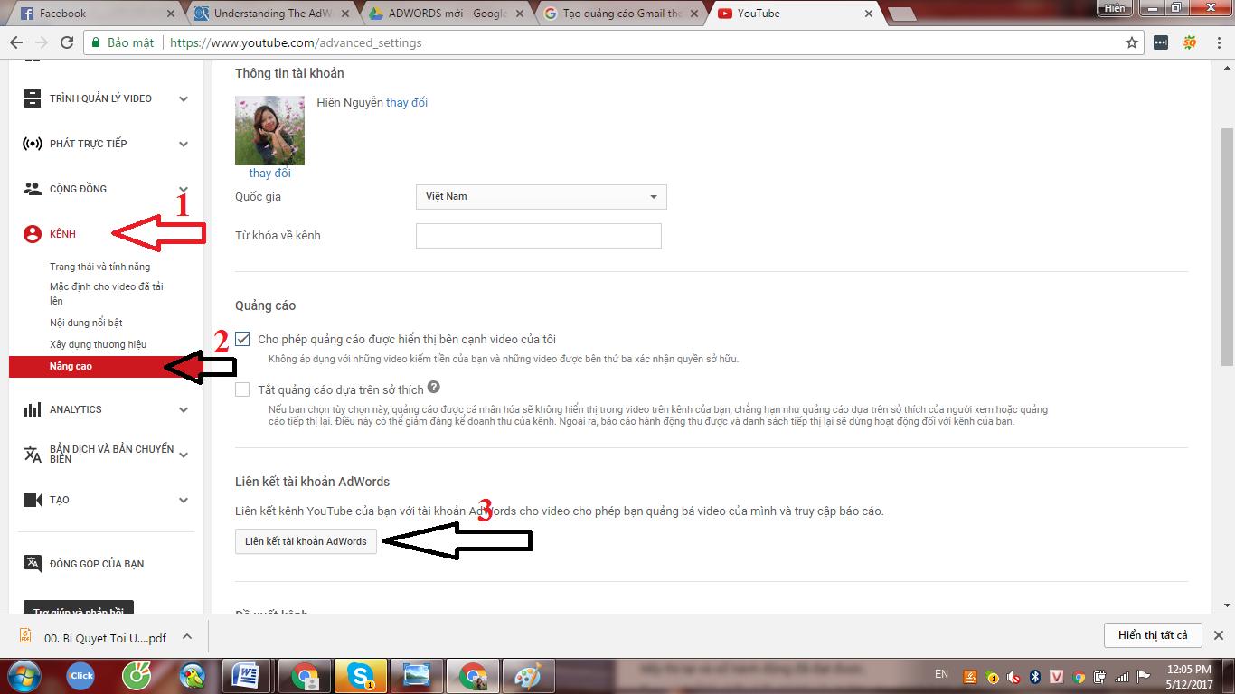 liên kết tài khoản Google Adwords với Youtube