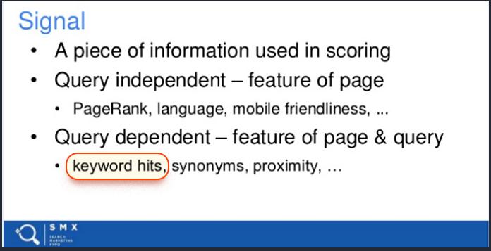 Slide nói về việc sử dụng từ khóa có ảnh hưởng như thế nào từ chính kỹ sư của Google