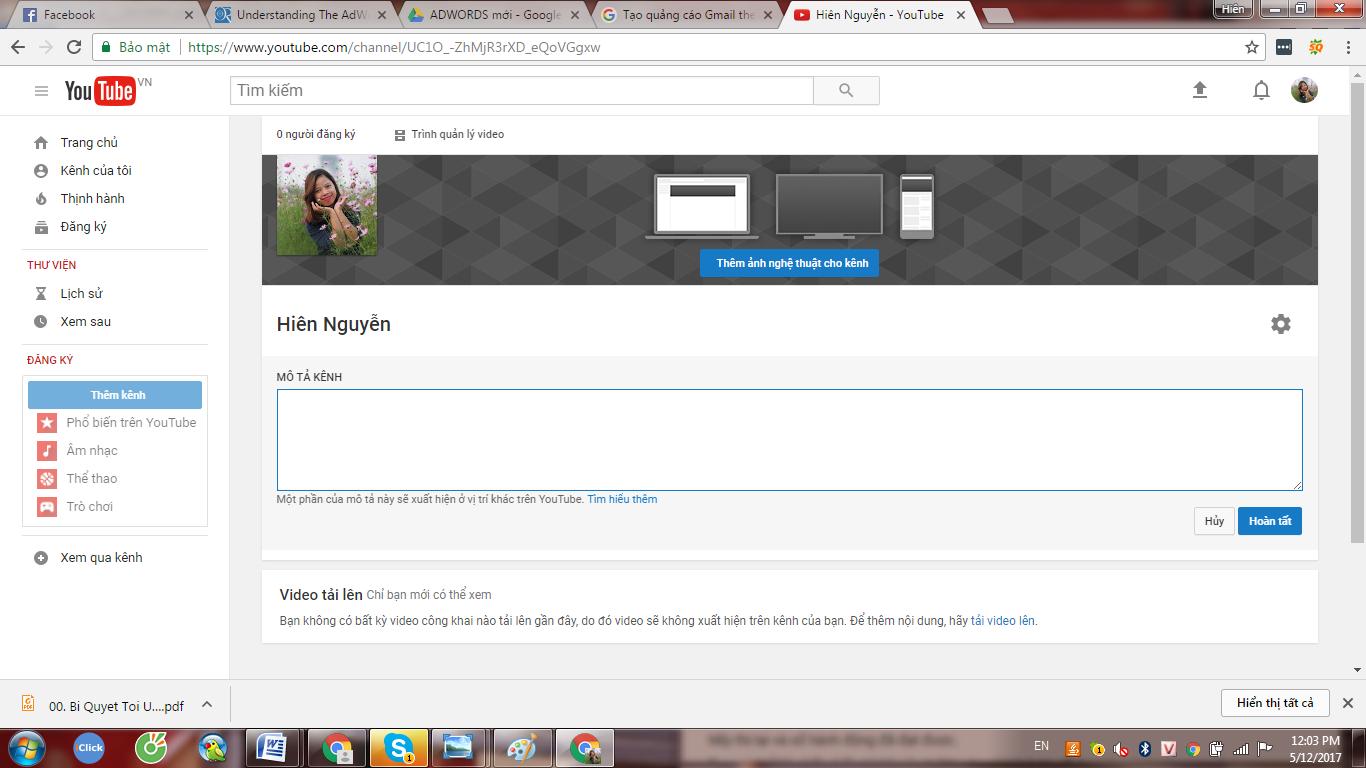 hướng dẫn tạo kênh Youtube