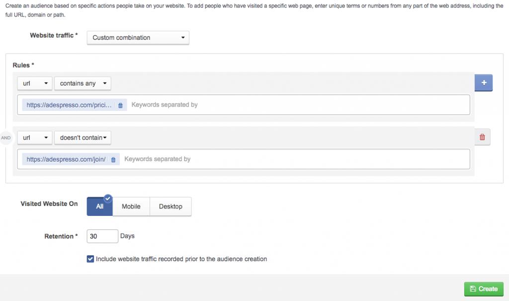 Tạo tập khách hàng tùy chỉnh dựa trên số lượt truy cập trang
