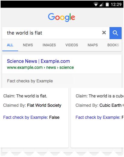 Một ví dụ hài hước về Fact check mà Google đưa ra
