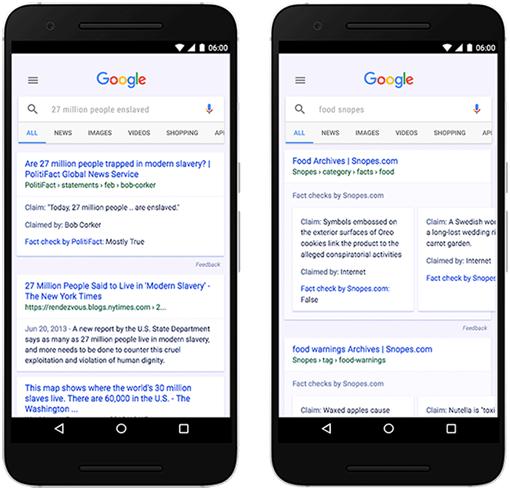 Ví dụ về Fact Check do Google cung cấp