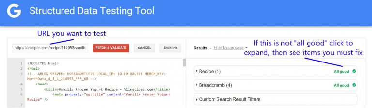 Kiểm tra lại bằng structured data testing của Google