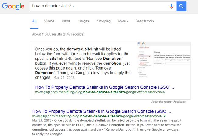 Phản hồi hữu ích với truy vấn How to demote sitelinks