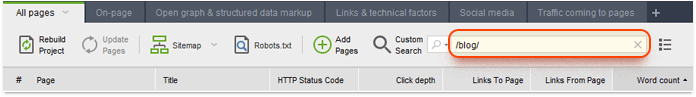 Sử dụng thành tìm kiếm để tìm các URL phù hợp