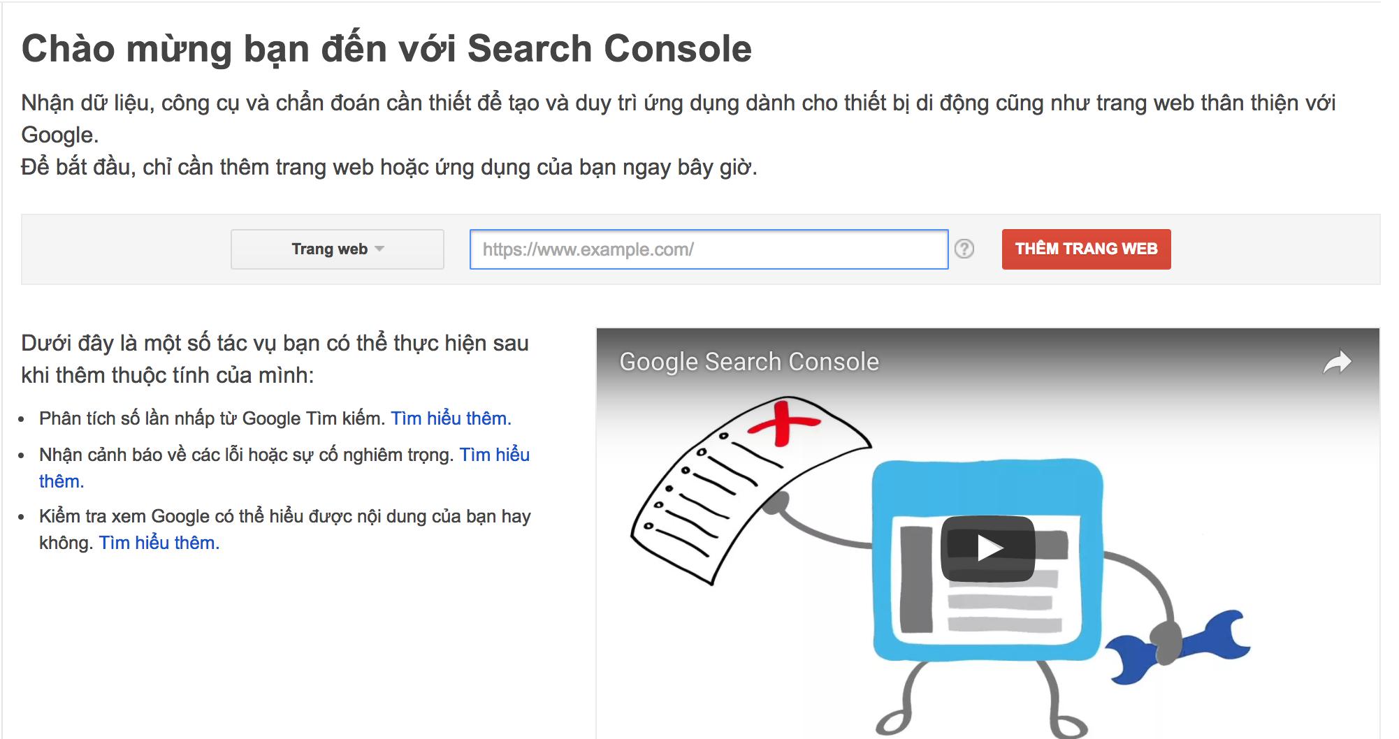 Bắt Đầu Với Google Search Console