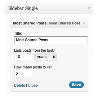 Giao diện cài đặt của plugin Most Shared Post