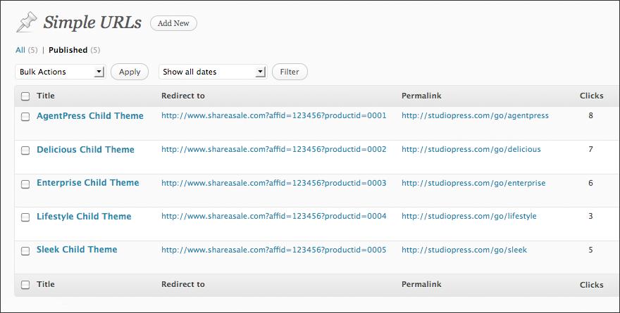 Giao diện hiển thị của Simple URLs