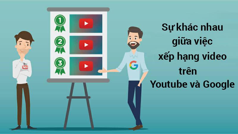 Sự khác nhau giữa việc xếp hạng video trên Youtube và trên Google