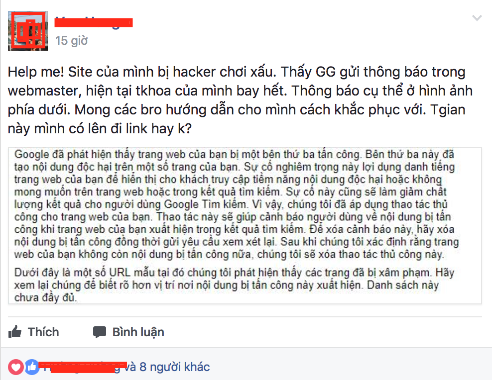 Anh em than phiền website bị hack