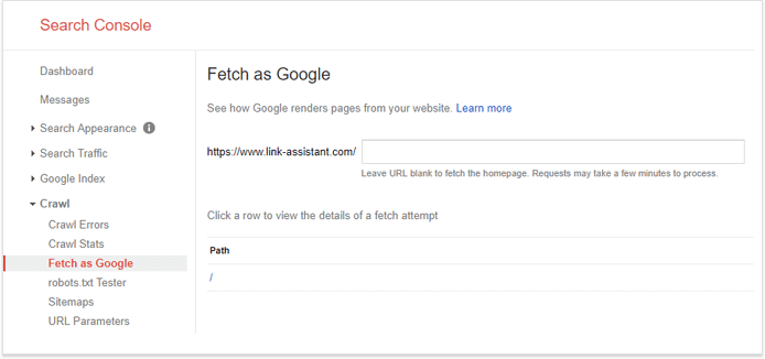 Tìm nạp như Google trong Search Console