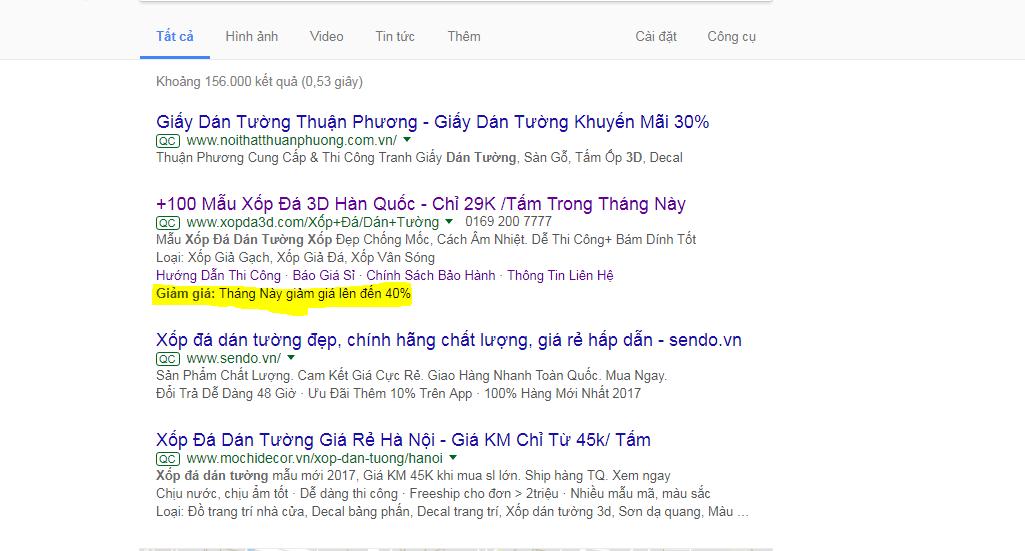 tiện ích khuyến mãi google adwords